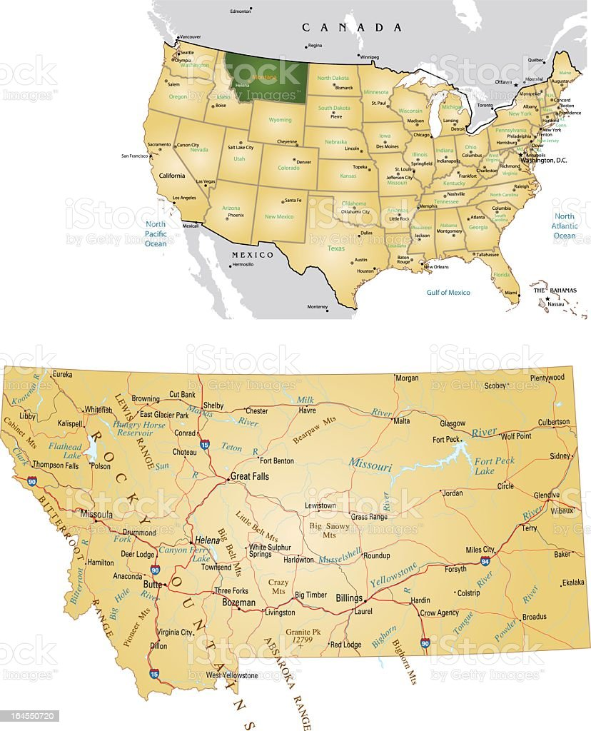 A map of Montana and a map showing its location in the US vector art illustration