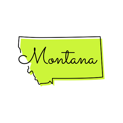 Map of Montana - State of US Vector Illustration Design Template.