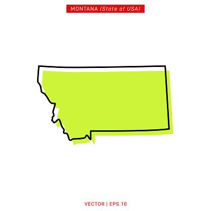 Map of Montana Vector Stock Illustration Design Template.