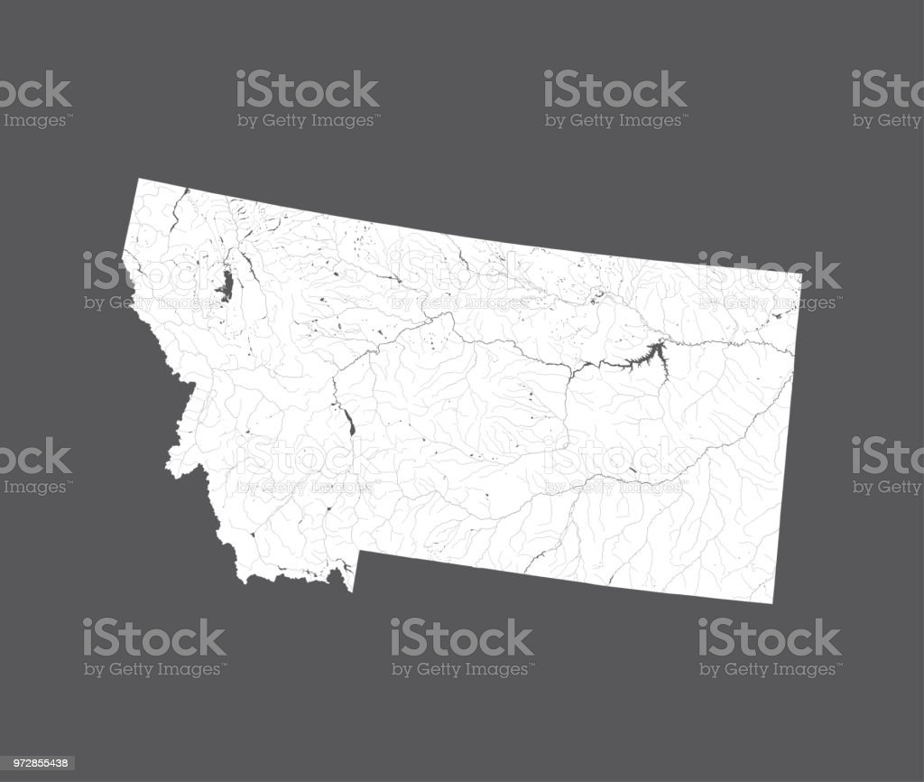 Map Of Montana With Lakes And Rivers Stock Vector Art & More Images ...