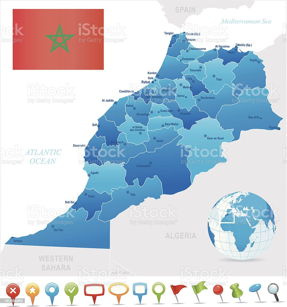 Map Of Morocco States Cities Flag And Icons Stock Vector Art & More ...