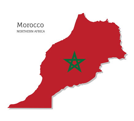 Map of Morocco with national flag