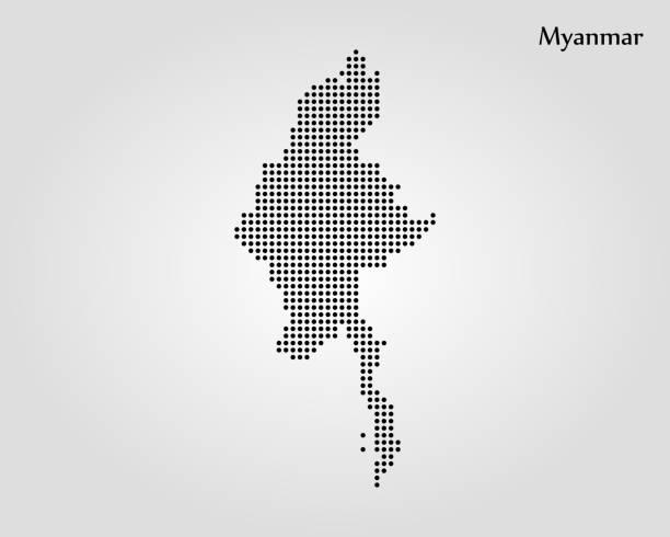 stockillustraties, clipart, cartoons en iconen met kaart van myanmar - myanmar