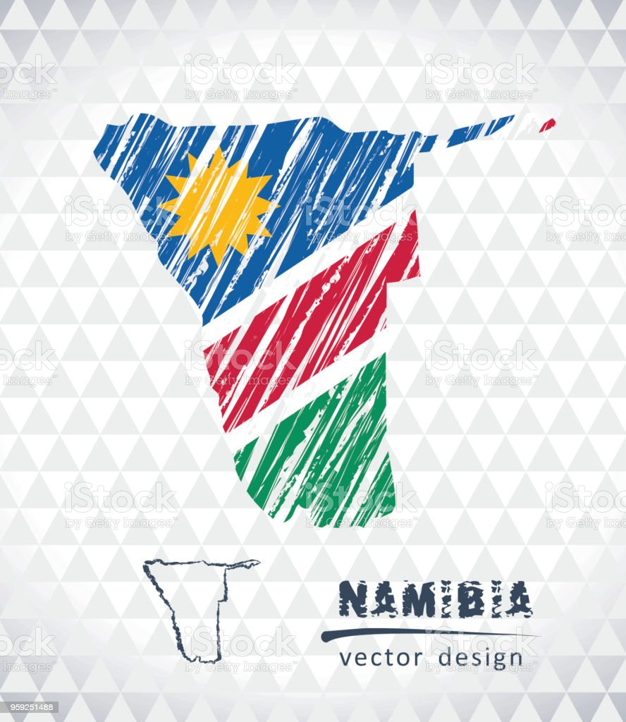 Karte Namibia Download.Map Of Namibia With Hand Drawn Sketch Pen Map Inside Vector