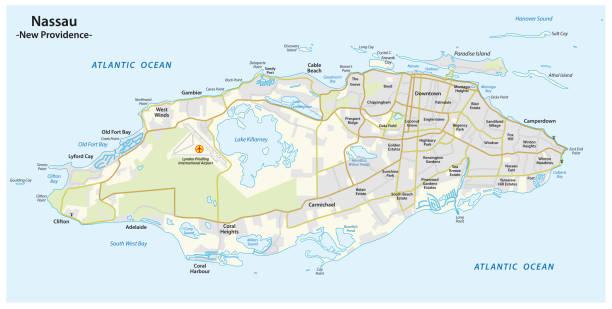 stockillustraties, clipart, cartoons en iconen met kaart van de hoofdstad nassau van de bahama's op het eiland new providence - nassau new providence