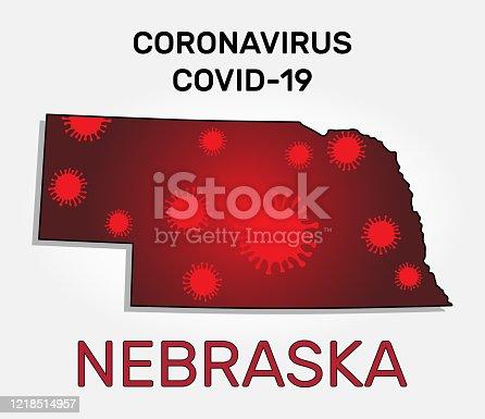 istock Map of Nebraska state and coronavirus infection 1218514957