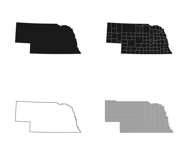 map of Nebraska – artystyczna grafika wektorowa