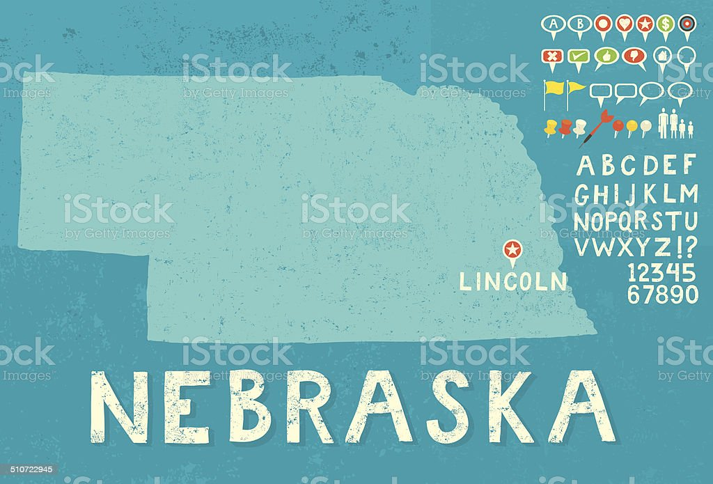 Map of Nebraska with icons vector art illustration