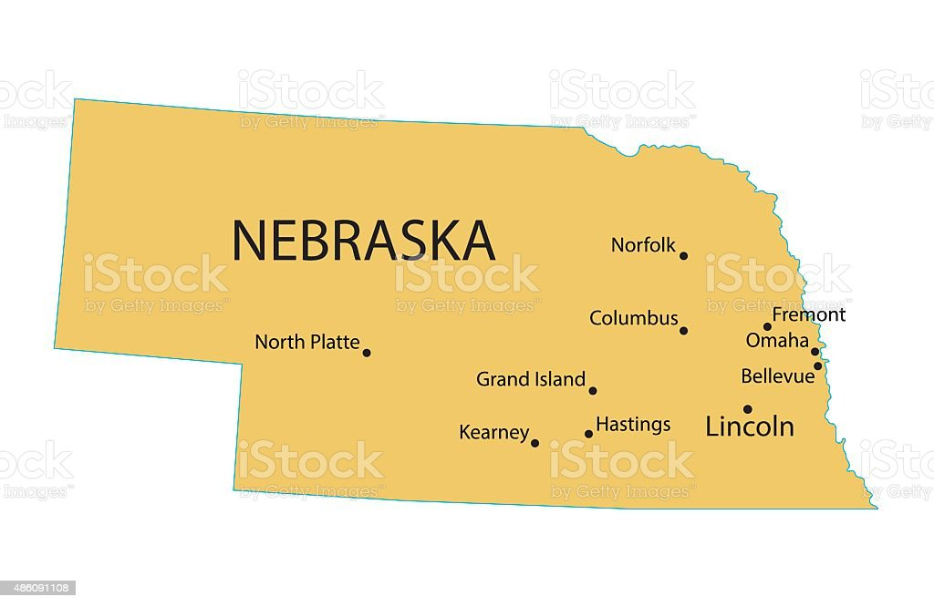 map of Nebraska with indication of largest cities vector art illustration