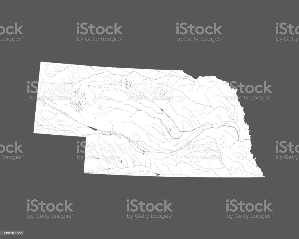 Map of Nebraska with lakes and rivers. map of nebraska with lakes and rivers - stockowe grafiki wektorowe i więcej obrazów ameryka royalty-free