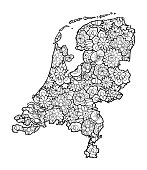 Map of Netherland with floral pattern. Black and white vector illustration, coloring page for adults