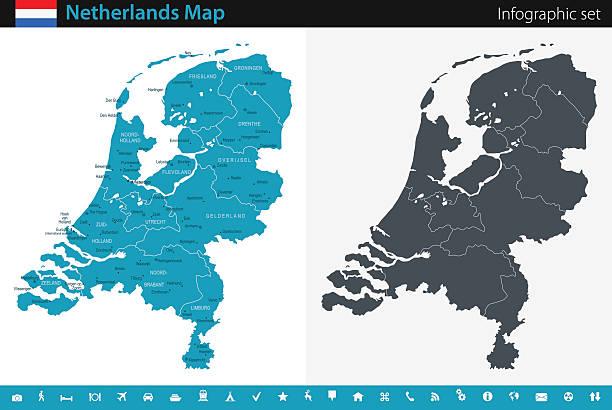 stockillustraties, clipart, cartoons en iconen met map of netherlands - infographic set - den haag