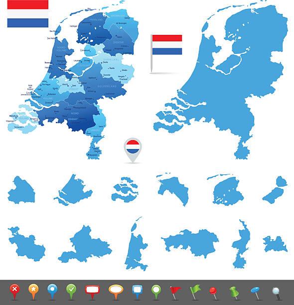 stockillustraties, clipart, cartoons en iconen met map of netherlands - states, cities and navigation icons - den haag