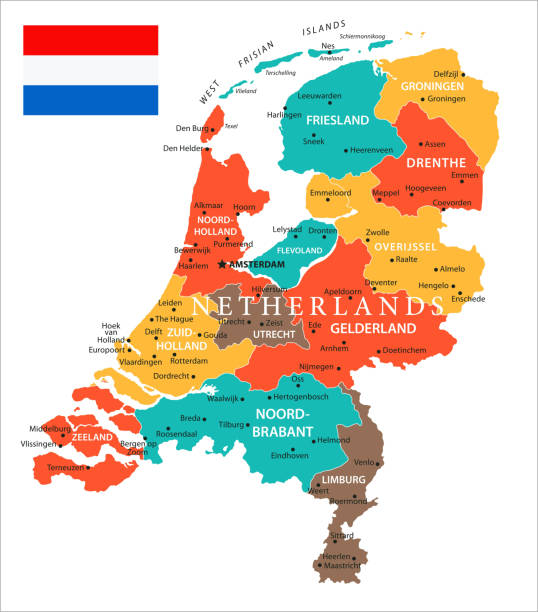 map of netherlands - vector - holandia stock illustrations