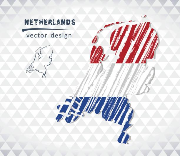 stockillustraties, clipart, cartoons en iconen met kaart van nederland met de hand getrokken schets kaart binnen. vectorillustratie - netherlands map