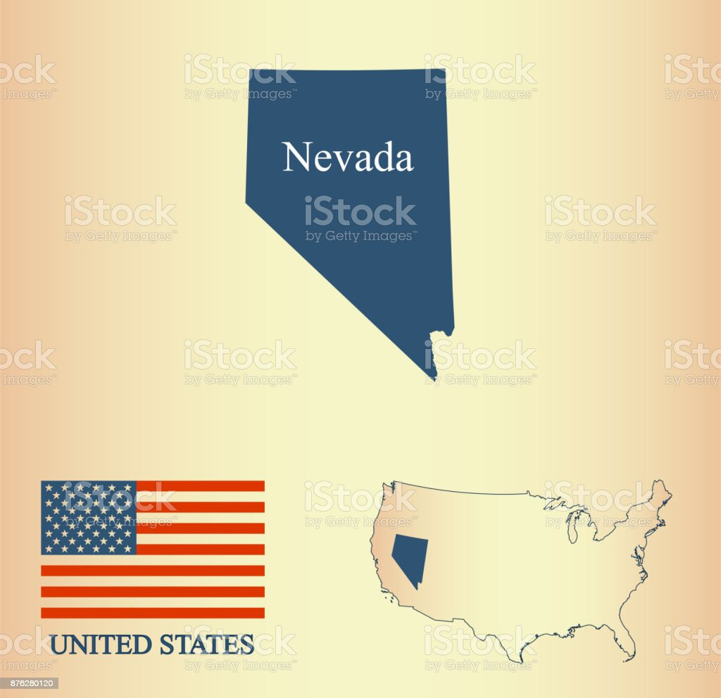 Map Of Nevada And Usa Nevada Map Vector Outline Illustartion And Usa Flag In A Creative Old Paper Background Stock Vector Art More Images Of Abstract Istock