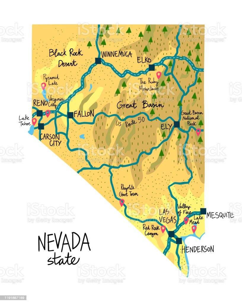 Ilustracion De Mapa Del Estado De Nevada De Los Eeuu Con Puntos De Referencia Y Mas Vectores Libres De Derechos De Arte Istock