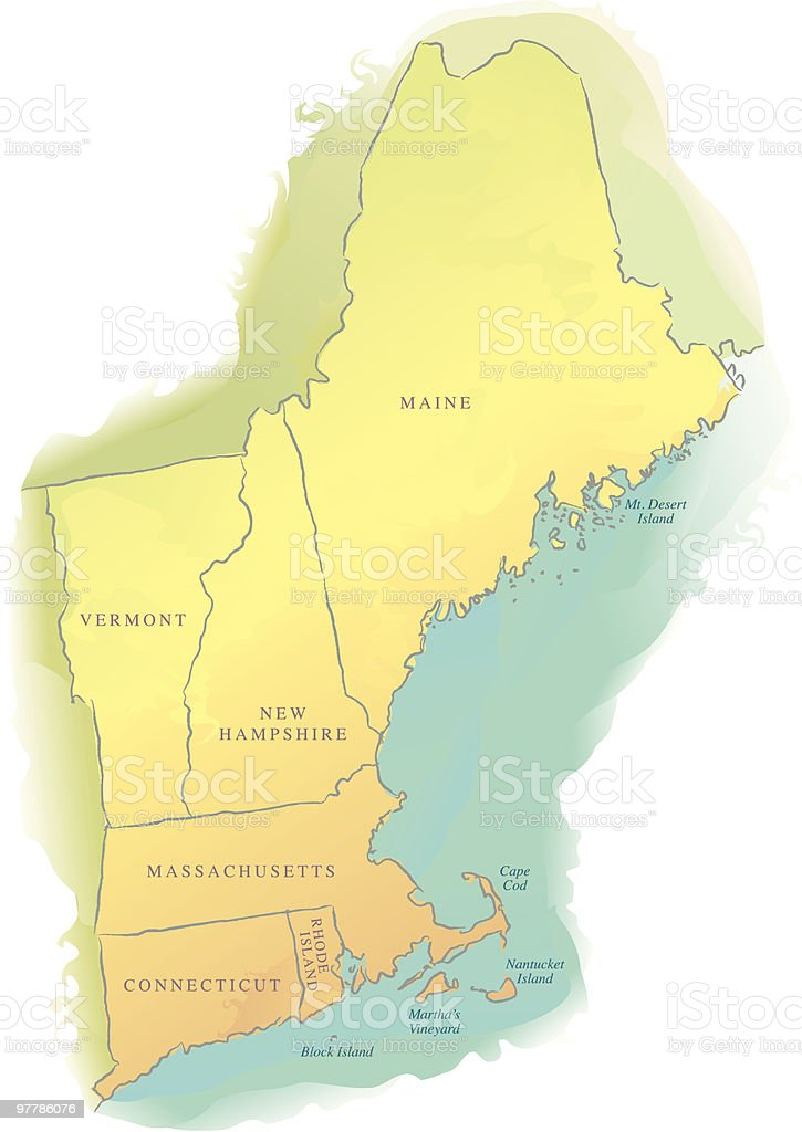 Map of New England - Watercolor style vector art illustration