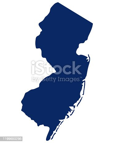 Map of New Jersey in blue colour