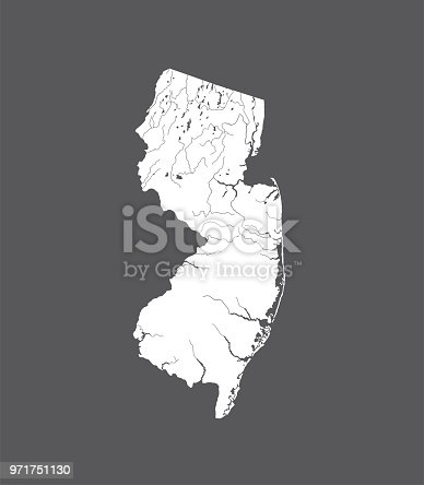 U.S. states - map of New Jersey. Hand made. Rivers and lakes are shown. Please look at my other images of cartographic series - they are all very detailed and carefully drawn by hand WITH RIVERS AND LAKES.