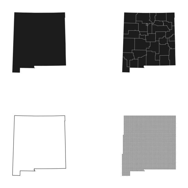 map of New Mexico – artystyczna grafika wektorowa