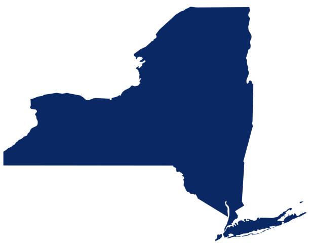 bildbanksillustrationer, clip art samt tecknat material och ikoner med karta över new york i blå färg - ny