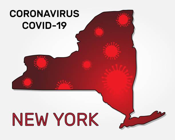 ニューヨーク州とコロナウイルス感染の地図 - corona newyork点のイラスト素材/クリップアート素材/マンガ素材/アイコン素材