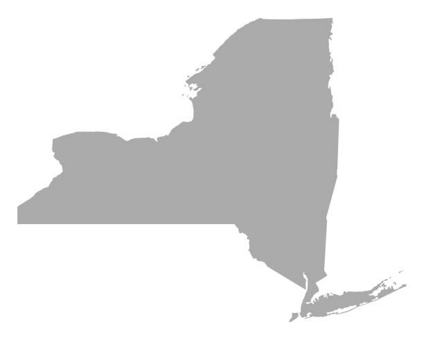 ilustraciones, imágenes clip art, dibujos animados e iconos de stock de mapa de nueva york - siluetas de mapas
