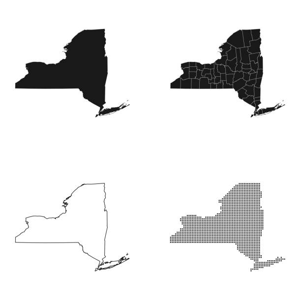 map of New York – artystyczna grafika wektorowa