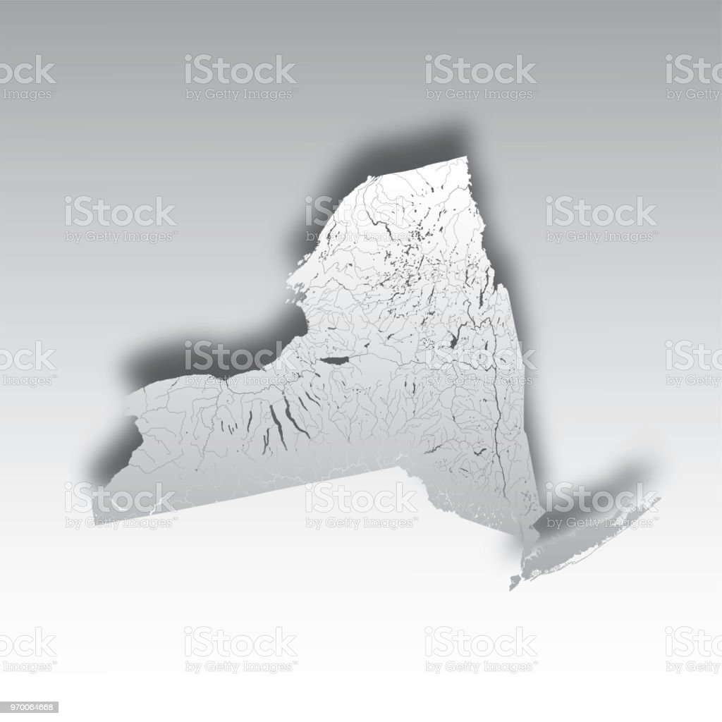 Map Of New York Rivers.Map Of New York With Lakes And Rivers Stock Vector Art More Images