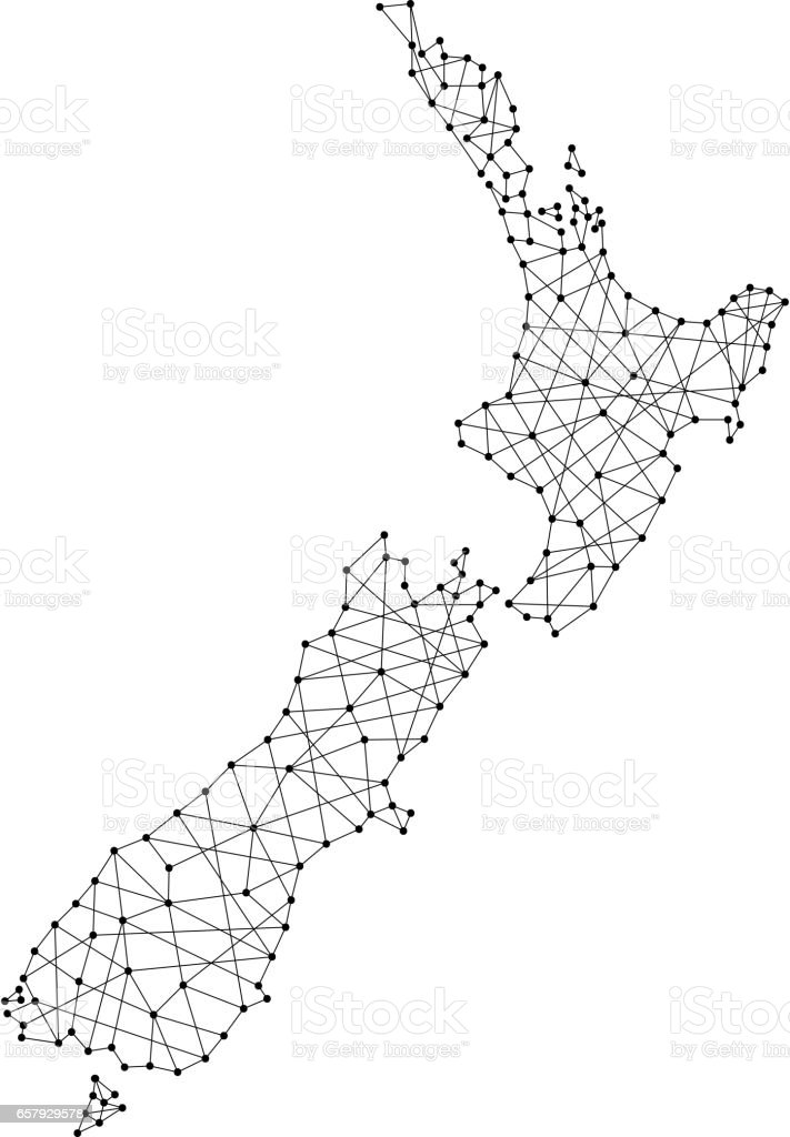 Map of New Zealand from polygonal black lines and dots of vector illustration vector art illustration
