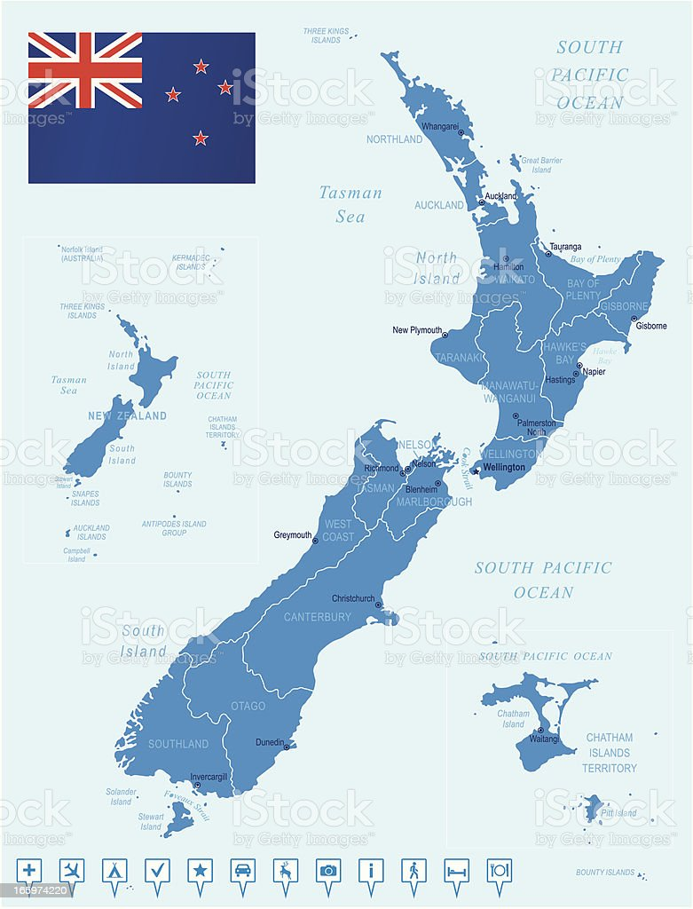 Map of New Zealand - states, cities, flag, navigation icons vector art illustration