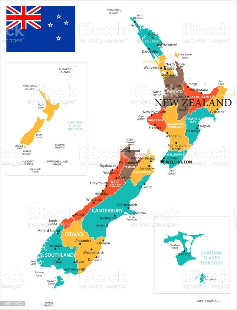 Christchurch World Map.Map Of New Zealand Vector Stock Vector Art More Images Of Brown