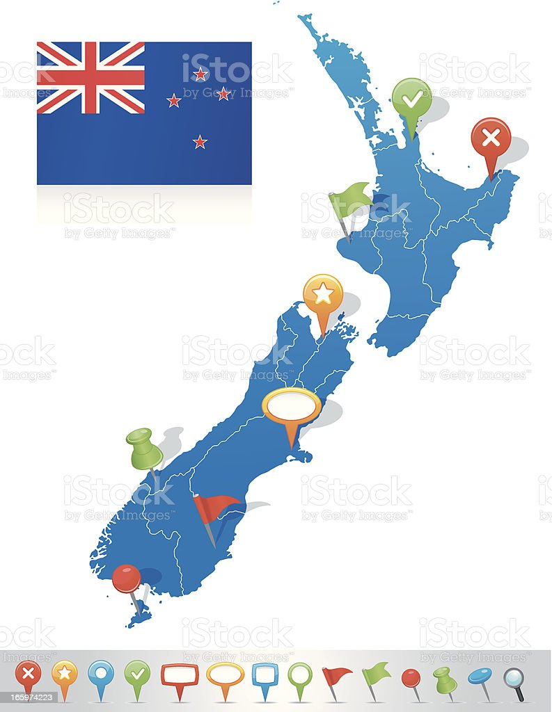 Map of New Zealand with navigation icons vector art illustration