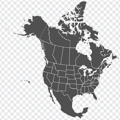 Map of North America. Detailed map of North America with States of the USA and Provinces of Canada. Template. Stock vector. EPS10.