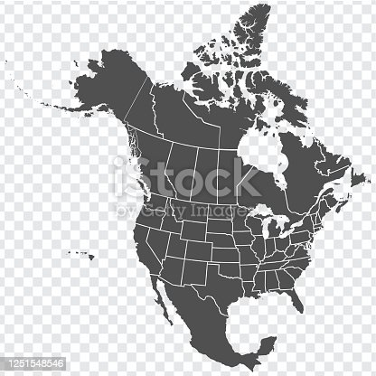 istock Map of North America. Detailed map of North America with States of the USA and Provinces of Canada. Template. Stock vector. EPS10. 1251548546