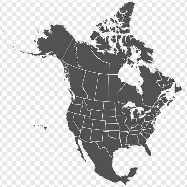 mapa ameryki północnej. szczegółowa mapa ameryki północnej ze stanami usa i prowincjami kanady. szablonu. wektor zapasów. eps10. - kanada stock illustrations