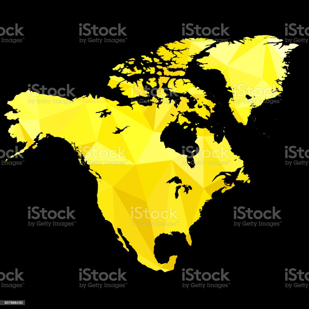 Map Of North America Made Of Gold Color Stock Vector Art & More ...