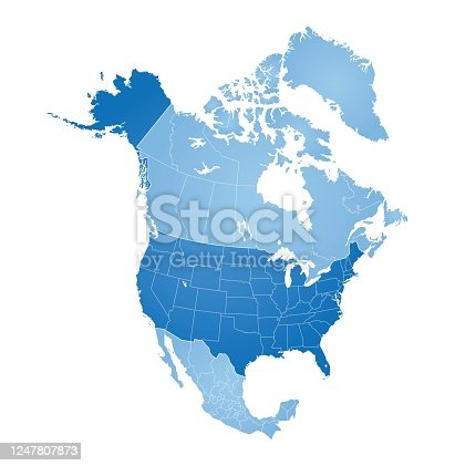 Map of North America with countries, states on white background