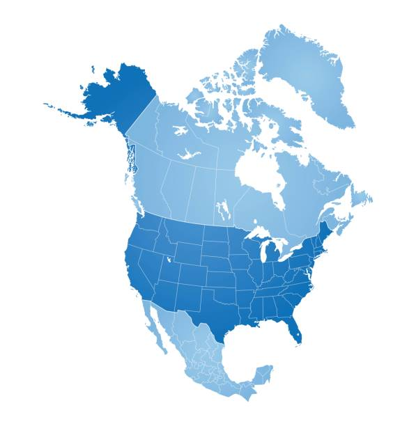 Map of North America Map of North America with countries, states on white background canada stock illustrations