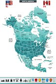 Map оf North America with navigation icons.