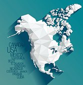 Low poly vector map of North America on green-blue background.