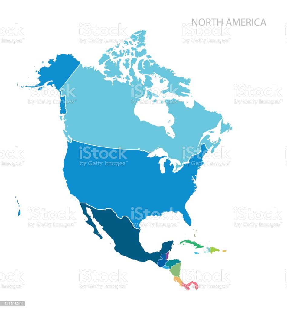 Map of North America vector art illustration