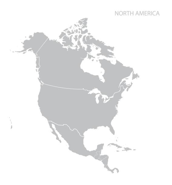 Map of North America Map of North America. Vector. canada stock illustrations