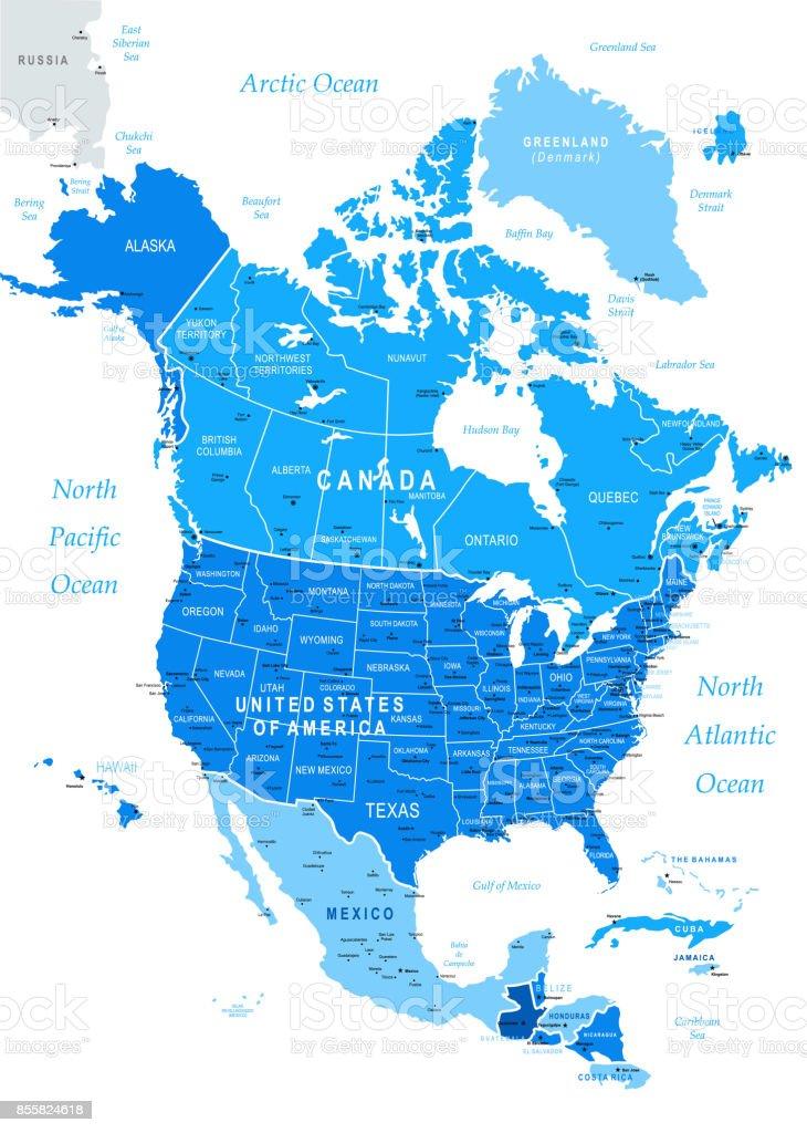 Map of North America vector art illustration