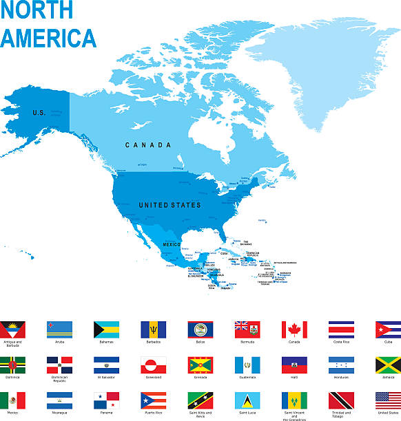 map of north america with flags against white background - flagge kanada stock-grafiken, -clipart, -cartoons und -symbole