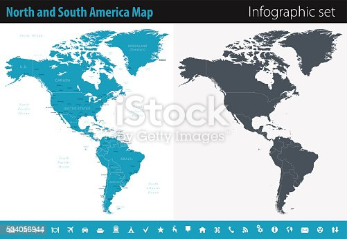 Map Of North And South America Infographic Set stock vector art ...