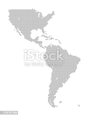 istock Map of North and South America using Squares 1226767568