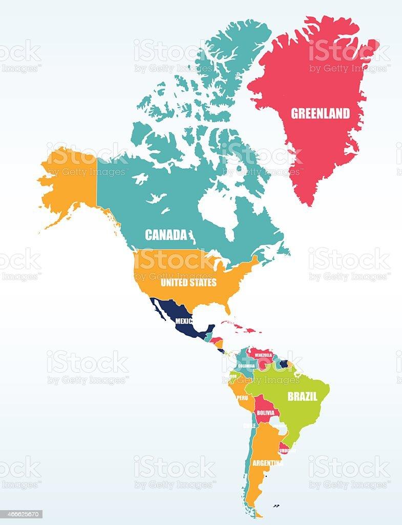 Carte de l'Amérique du Nord et Amérique du Sud - Illustration vectorielle