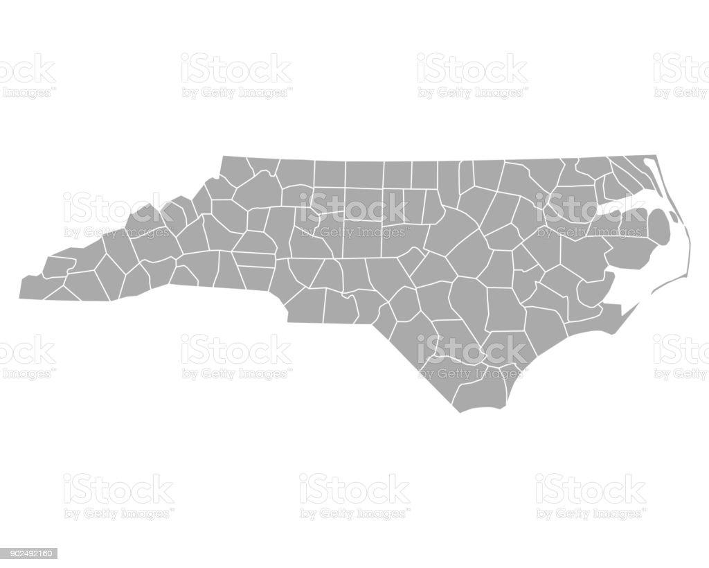 Map of North Carolina vector art illustration